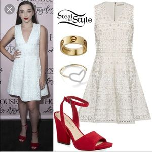 """Alice + Olivia """"Reba"""" white embellished Dress 0"""